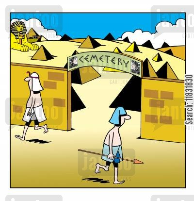 cleopatra cartoon humor: Egyptian cemetery.