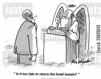 sinned cartoon humor: 'Is it too late to return the hotel towels?'