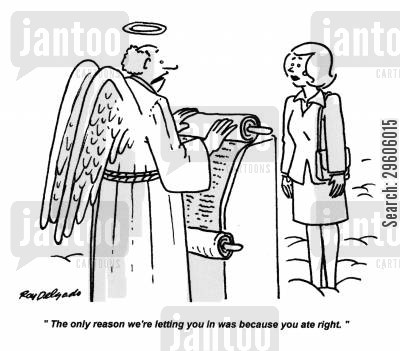 reasoning cartoon humor: 'The only reason we're letting you in was because you ate right.'