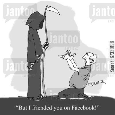 chat room cartoon humor: 'But I friended you on Facebook!'