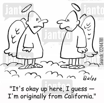 home towns cartoon humor: 'It's okay up here, I guess -- I'm originally from California.'