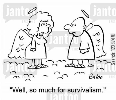 sudden death cartoon humor: 'Well, so much for survivalism.'
