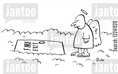 fire exits cartoon humor: Angel sees FIRE EXIT sign on trap door in cloud.