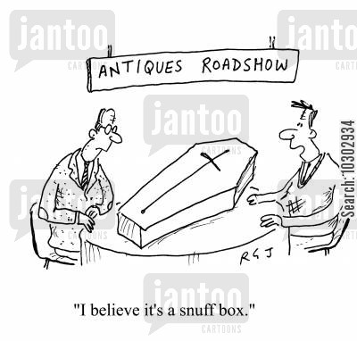 antique cartoon humor: 'I believe it's a snuff box.'