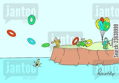rubber ring cartoon humor: Helium life rings.