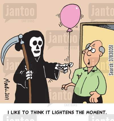 dark mood cartoon humor: 'I like to think it lightens the moment.'