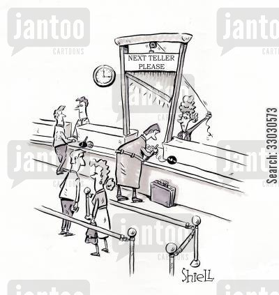 savings account cartoon humor: Next Teller Please.