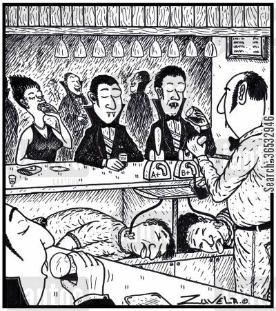 drinking blood cartoon humor: Vampires enjoying a drink of fresh blood from their human kegs under the bar.