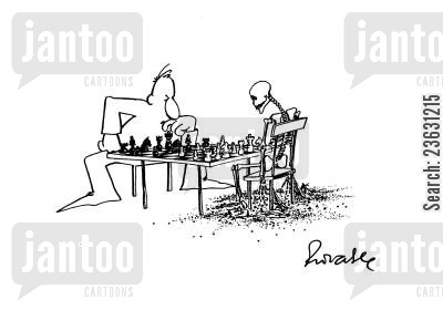 boardgame cartoon humor: Playing a game of Chess