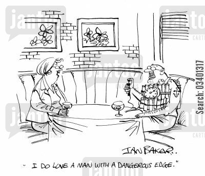 suicide bomber cartoon humor: 'I do love a man with a dangerous edge.'