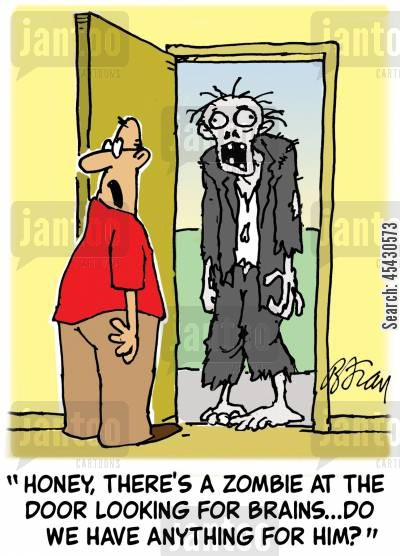 fancy dress parties cartoon humor: 'Honey, there's a zombie at the door looking for brains,,,do we have anything for him'