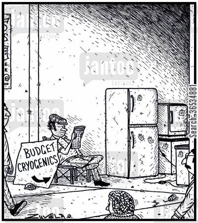 black market cartoon humor: Budget Cryogenics