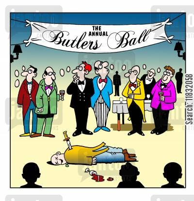 murder mystery cartoon humor: The Butlers Ball.