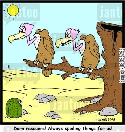 buzzards cartoon humor: 'Darn rescuers! Always spoiling things for us!'