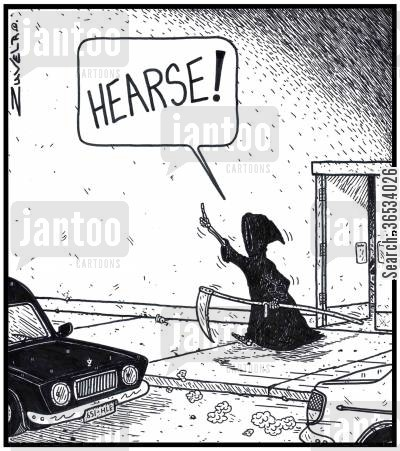 fare cartoon humor: Grim Reaper: 'HEARSE!'
