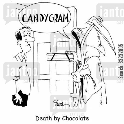 death by chocolate cartoon humor: Death by Chocolate.