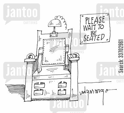 death sentanc cartoon humor: Please Wait to be Seated.