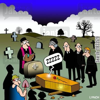 buried alive cartoon humor: ZZZZZ comes from coffin.