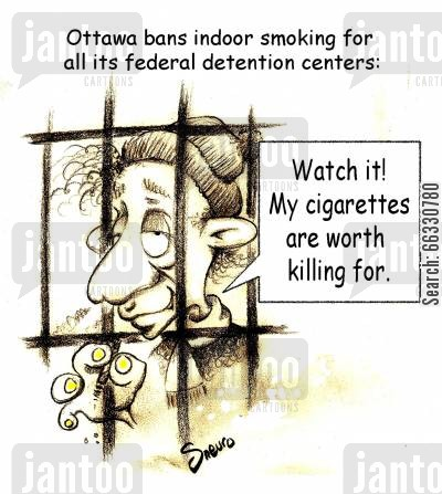 penitentiary cartoon humor: Watch it! My cigarettes are worth killing for.