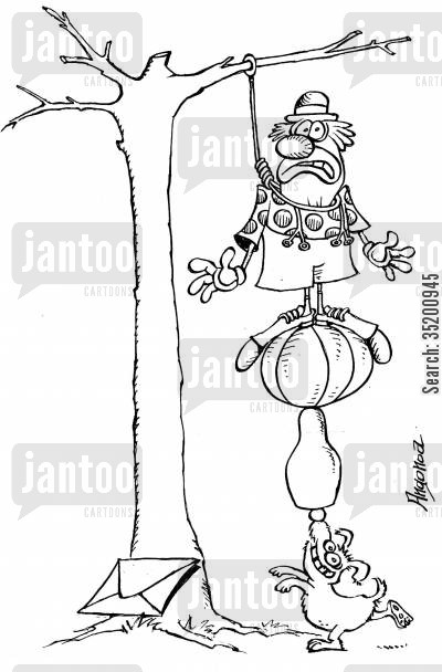 suicide attempts cartoon humor: Clown trying to hang himself.