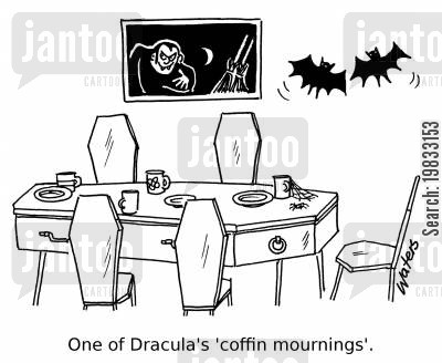 mourns cartoon humor: One of Dracula's 'coffin mournings'.