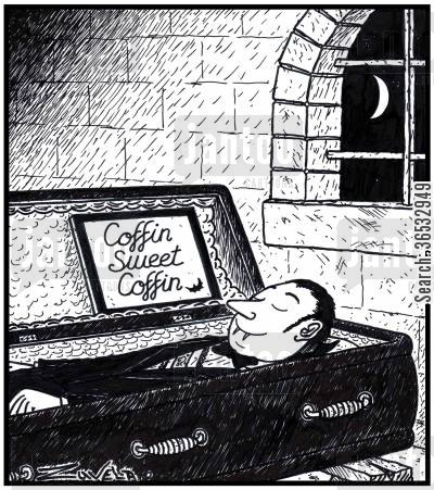 sucking blood cartoon humor: A Vampire asleep in his 'Coffin Sweet Coffin'.