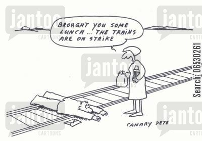 rails cartoon humor: Railway suicide - Brought you some lunch, the trains are on strike.
