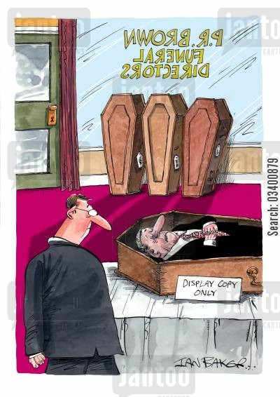 samples cartoon humor: Coffin in funeral home reads: Display Copy Only.