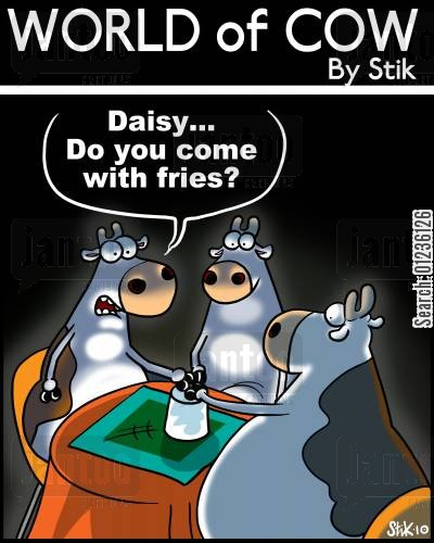 spiritualists cartoon humor: 'Daisy...Do you come with fries?'