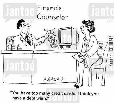 financial counsellor cartoon humor: 'You have too many credit cards. I think you have a debt wish.'