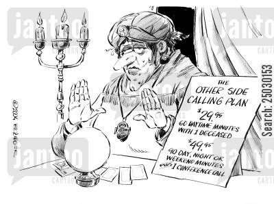 other side cartoon humor: Fortune teller with crystal ball and sign explaining calling plans to the 'other side'.