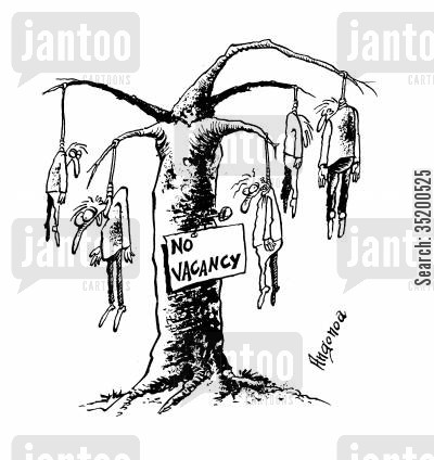 hanged cartoon humor: 'No vacancy' sign on hanging tree with dead men hanging from all available branches