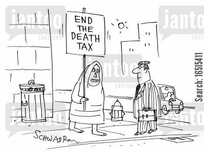 demonstrate cartoon humor: End the death tax