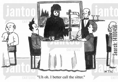 nanny cartoon humor: Uh oh. I better call the sitter.