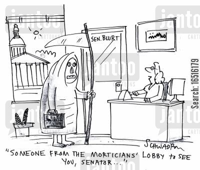 mortician cartoon humor: 'Someone from the morticians' lobby to see you, senator . . .'