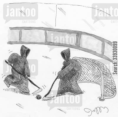 goalies cartoon humor: Grim Reapers playing hockey.