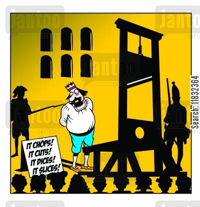 kitchen utensils cartoon humor: Guillotine Advert.