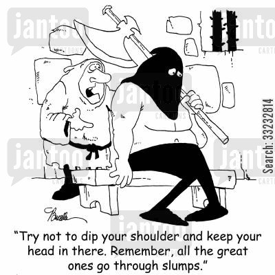 hitting slump cartoon humor: 'Try not to dip your shoulder and keep your head in there. Remember, all the great ones go through slumps.'