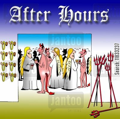 after work cartoon humor: After hours...