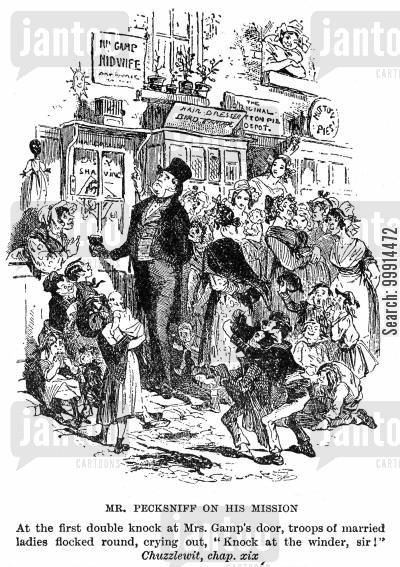 martin chuzzlewit cartoon humor: Mr. Pecksniff on his mission (Martin Chuzzlewit)