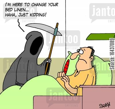 kidder cartoon humor: 'I'm here to change your bed linen... haha, just kidding!'