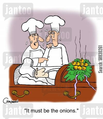 onions cartoon humor: 'It must be the onions.'