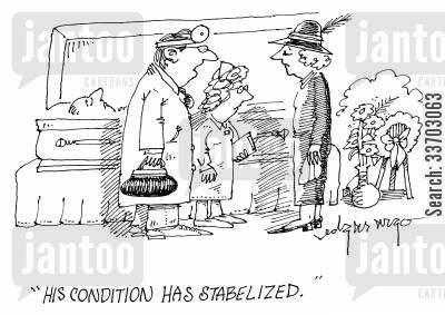 funeral service cartoon humor: 'His condition has stabilized.'