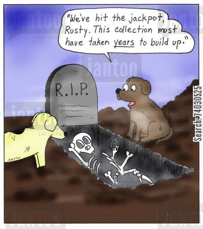burying cartoon humor: 'We've hit the jackpot,d Rusty. This collection must have taken years to build up.'
