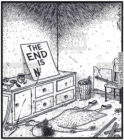 doomsayer cartoon humor: 'The End is Near'