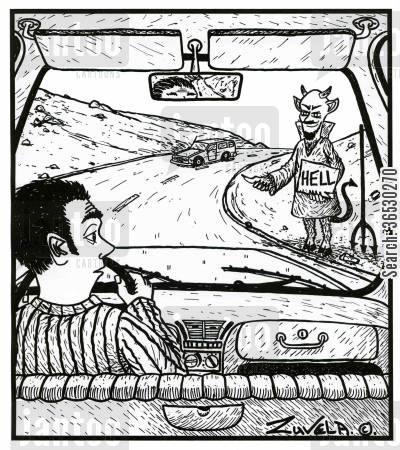 hitchhiker cartoon humor: Road to Hell.
