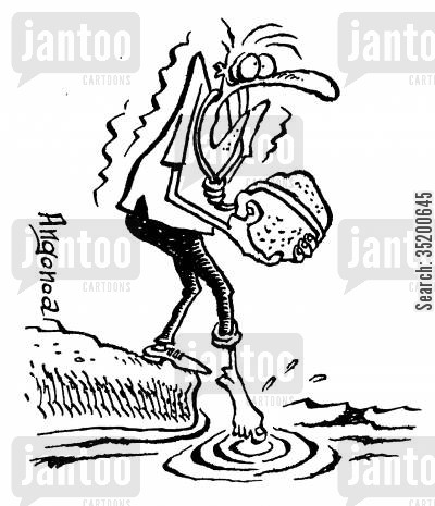 stones cartoon humor: Suicidal man worring about the temperature of the water he is about to drown himself in