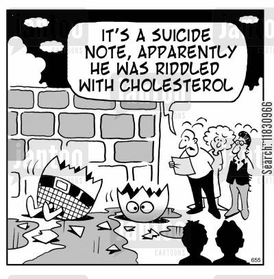 suicide notes cartoon humor: It's a suicide note, apparently he was riddled with cholesterol.