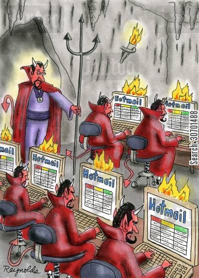 cyber-cafes cartoon humor: Devils checking their hotmail accounts.