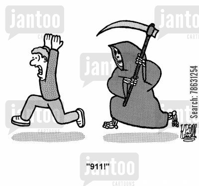 emergency numbers cartoon humor: Man being chased by the Grim Reaper calls '911!'